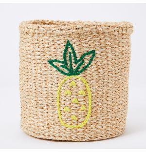 Pineapple Embroidered Sisal Basket
