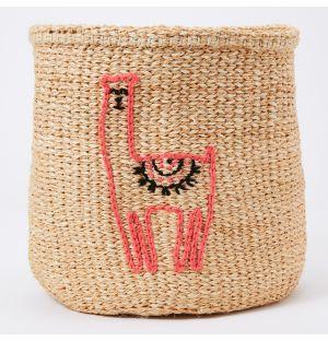 Llama Embroidered Sisal Basket