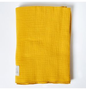 Cotton Muslin Blanket in Ochre