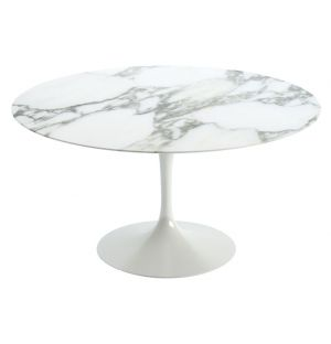 Tulip Dining Table Arabescato Marble & White Base 137cm