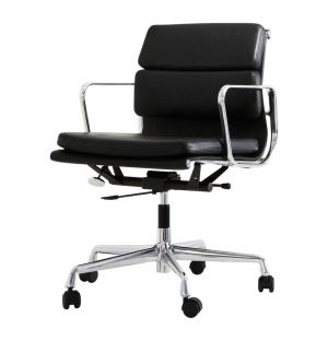 EA 217 Soft Pad Chair Polished Base & Black Leather