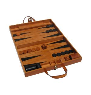 Natural Leather Backgammon Set