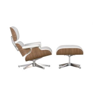 Tall Eames Lounge Chair & Ottoman White Leather & White Walnut