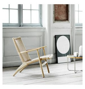 CH25 Low Armchair Soaped Oak & Natural Paper Cord Seat