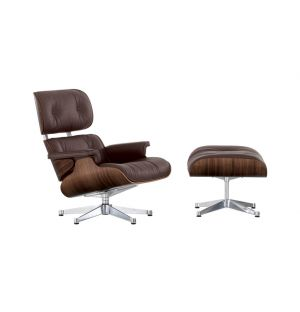 Classic Eames Lounge Chair & Ottoman Chocolate Leather & Walnut