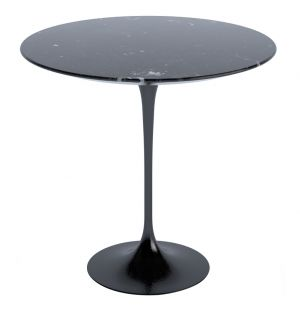 Tulip Side Table Nero Marquina Marble Satin Finish 51cm