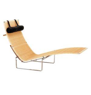 PK24 Lounge Chair Wicker & Grace Leather Headrest