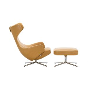 Grand Repos Armchair & Ottoman in Natural Leather