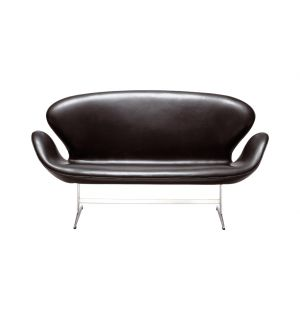 Swan Sofa Black Aura Leather