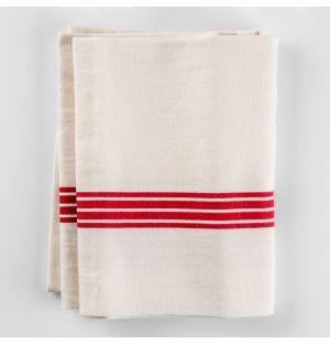Cotton & Linen Tea Towel Red Stripe