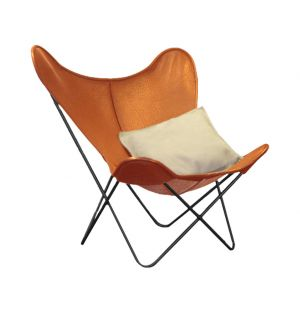 Butterfly Chair Cognac Leather & Iron
