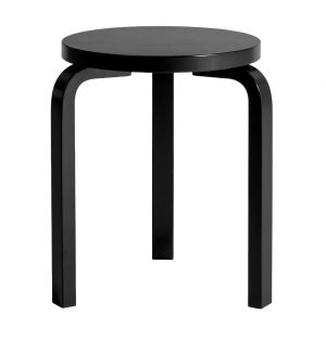 Stool 60 Black Lacquered Quick-Ship
