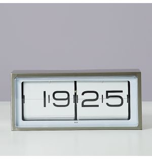Brick 24-Hour Clock Stainless Steel & White