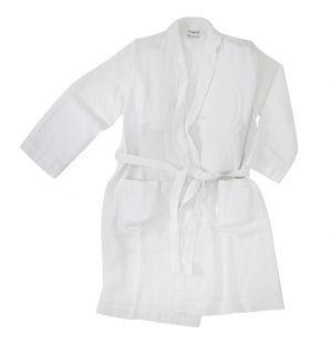 Linen Waffle Bath Robe White