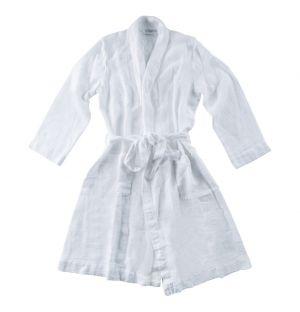Linen Waffle Bath Robe White Small/Medium