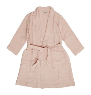 Linen Waffle Bath Robe Pink