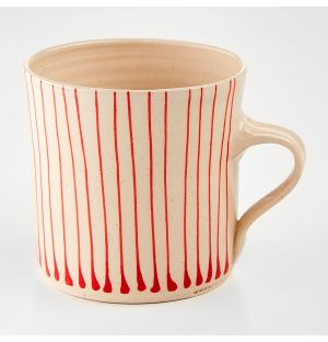 Stripe Breakfast Mug Red