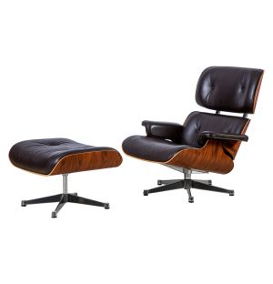Tall Eames Lounge Chair & Ottoman Black Leather Santos Palisander