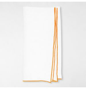 Contrast Edged Linen Napkin White & Orange
