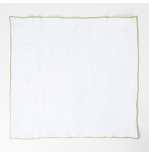 Contrast Edged Linen Napkin White & Green