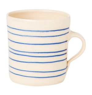 Horizontal Stripe Breakfast Mug Blue