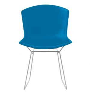 Bertoia Plastic Side Chair Blue with Chrome Base