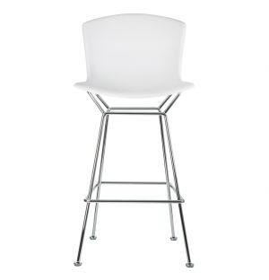 Bertoia Plastic Bar Stool White & Chrome