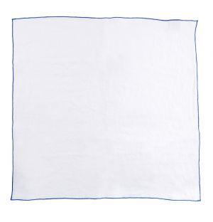 Contrast Edged Linen Napkin White & Cobalt