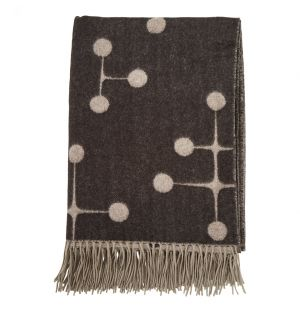 Dot Pattern Wool Blanket Black