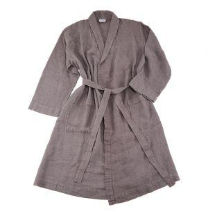 Linen Waffle Bath Robe Slate