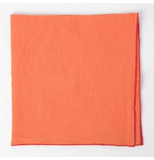 Linen Napkin Baby Overlock Orange & Pink