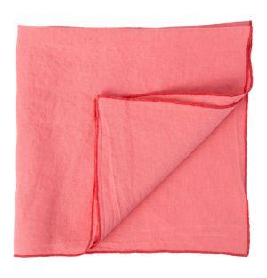 Linen Napkin Overlock Pink & Tomato