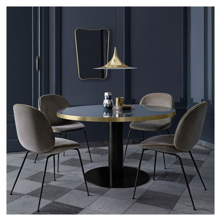 Zambia Black Glass Dining Table With 6