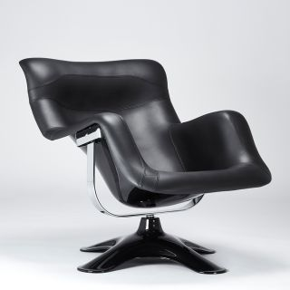 Limited Edition Karuselli Lounge Chair in All Black Prestige Leather