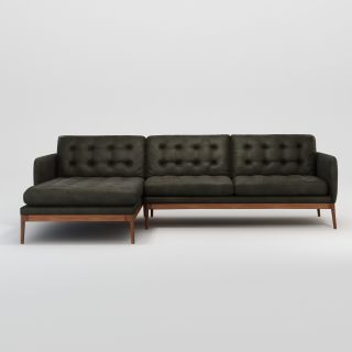 Elgin Button Corner Sofa Left Facing